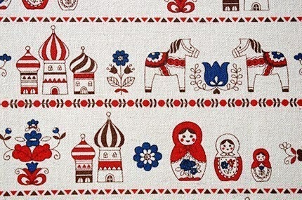 Cute Russian Doll and Horse - Japanese fabric
