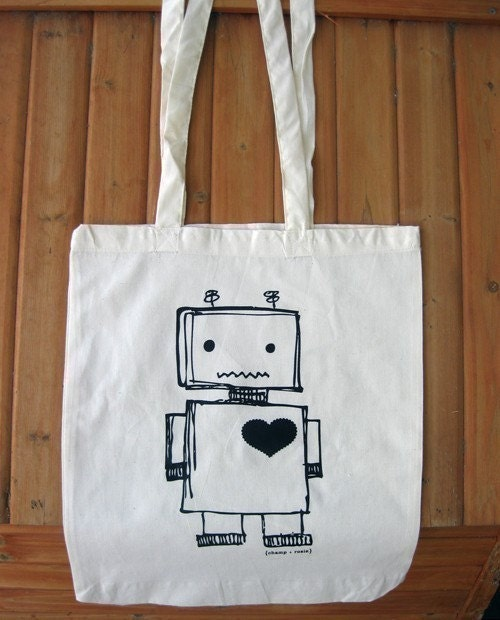ROBOT - Printed calico tote bag