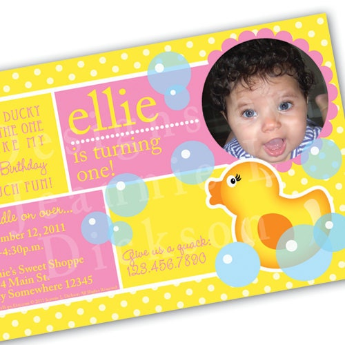 Printable Ducky Invitation for your next Birthday by HoneyBops