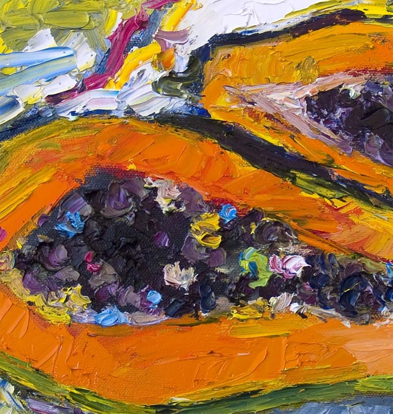 Impressionist Papaya Fruit 12 by 12  Original Oil Painting Palette Knife by Ginette
