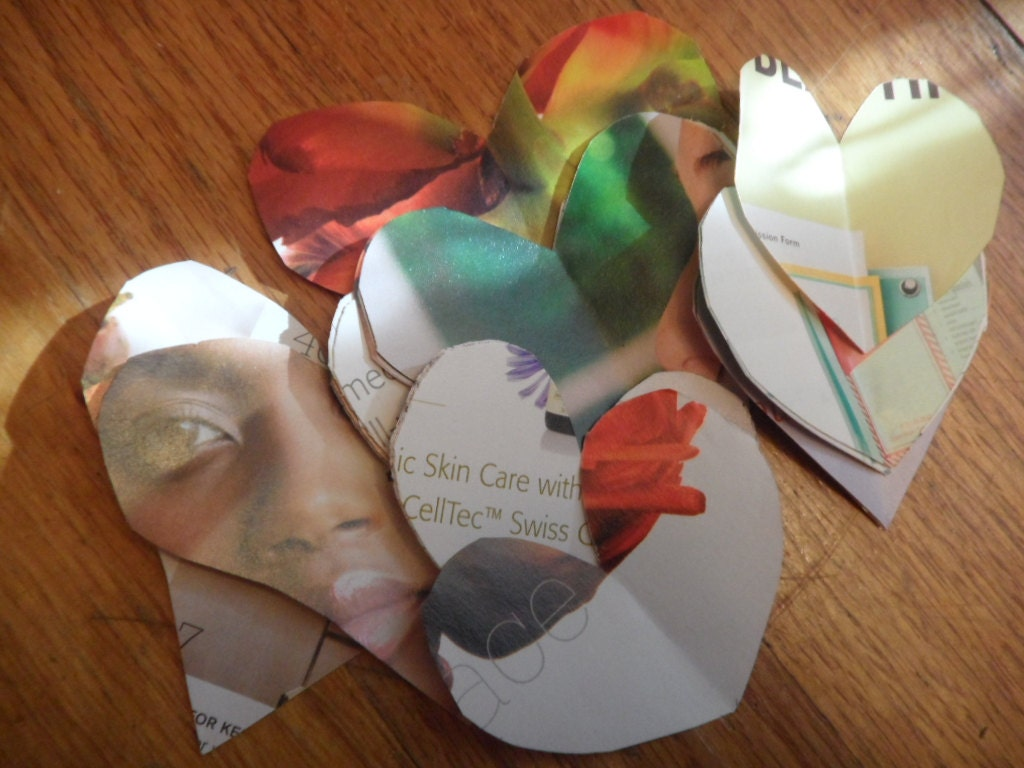 Heart Collage, Cut Out, Die Cut, Magazine, Green