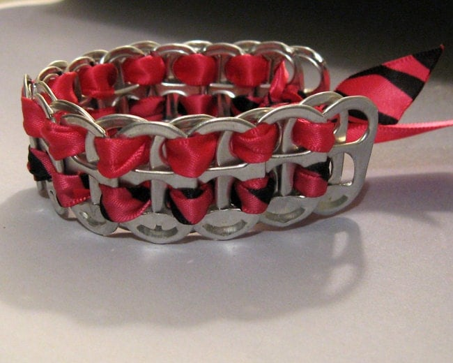 recycled soda pop can tab bracelet ribbon tiger by