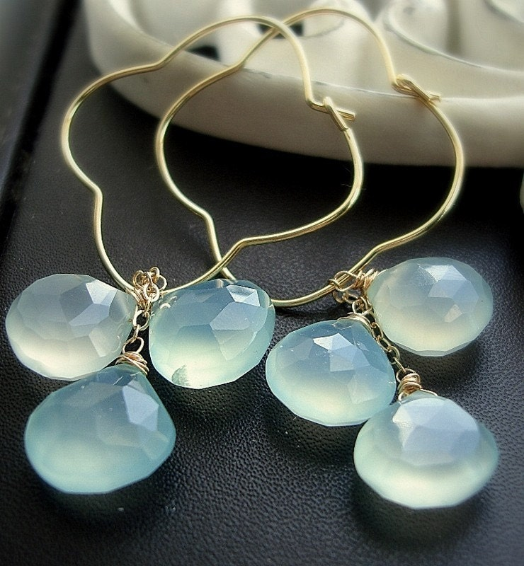 THE CLUB -EARRINGS WITH SEA FOAM BLUE CHALCEDONY