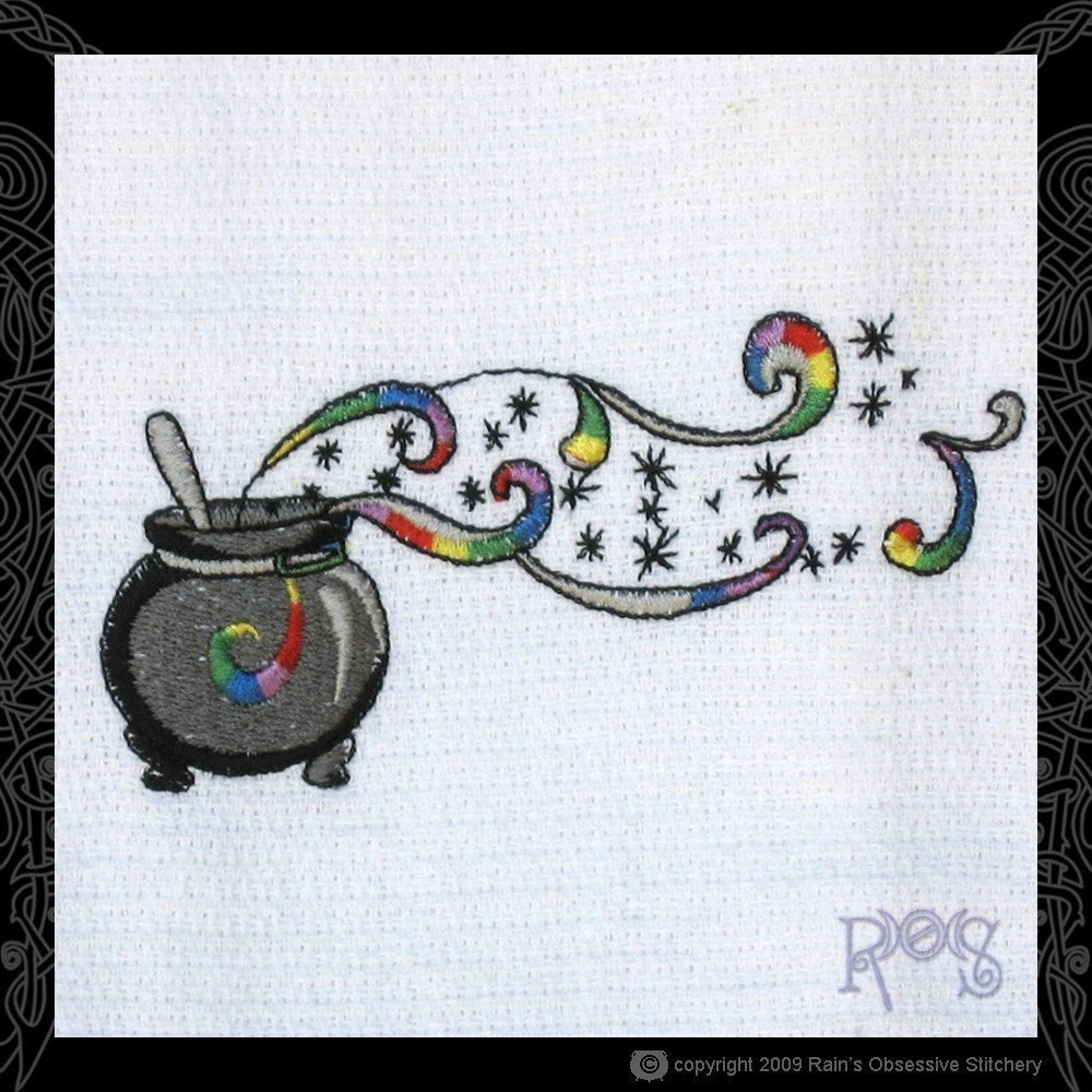 Tea Towel Embroidered with Cauldron