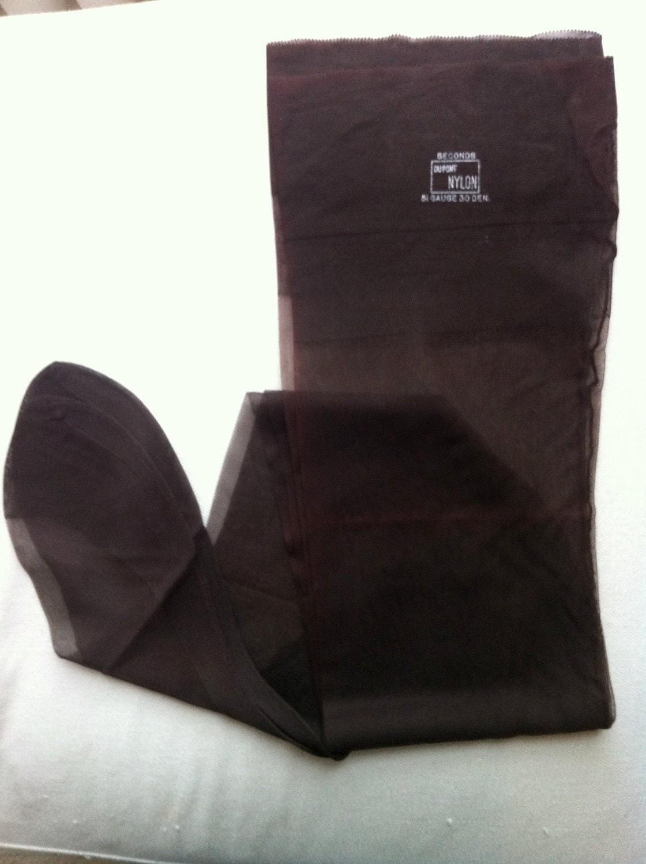 Vintage Seamed Nylon Stockings, Size 10 Dark Brown