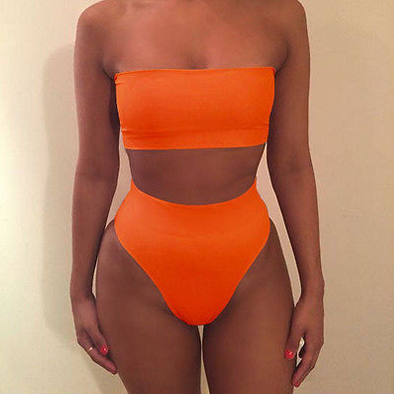 aria orange bandeau high waisted brazilian bikini