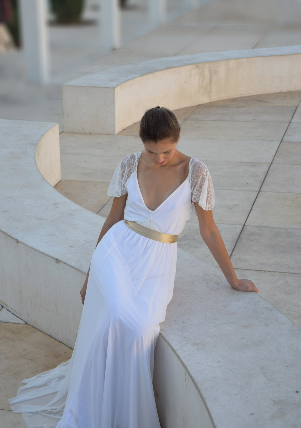 Wedding dress deep v neck cleavage by barzelai on etsy for Wedding dress cleavage