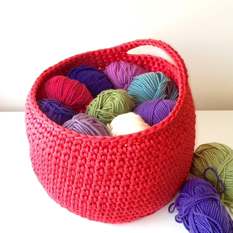 Hanging storage basket crochet basket nursery storage toy tidy bathroom organiser custom colour