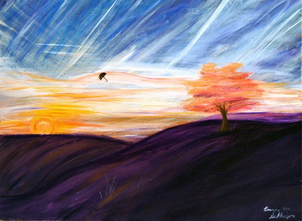 Original Painting Niagara Falls Silence - UmbrelikaStudio