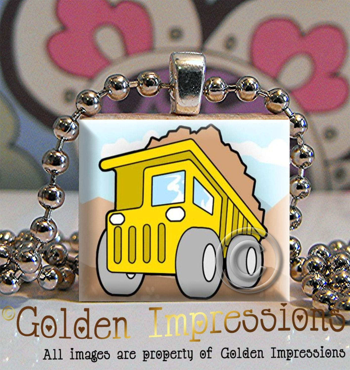 Free Chain and Buy 2 Get 1 Free Scrabble Tile Pendant- Dump Truck - IN TIN