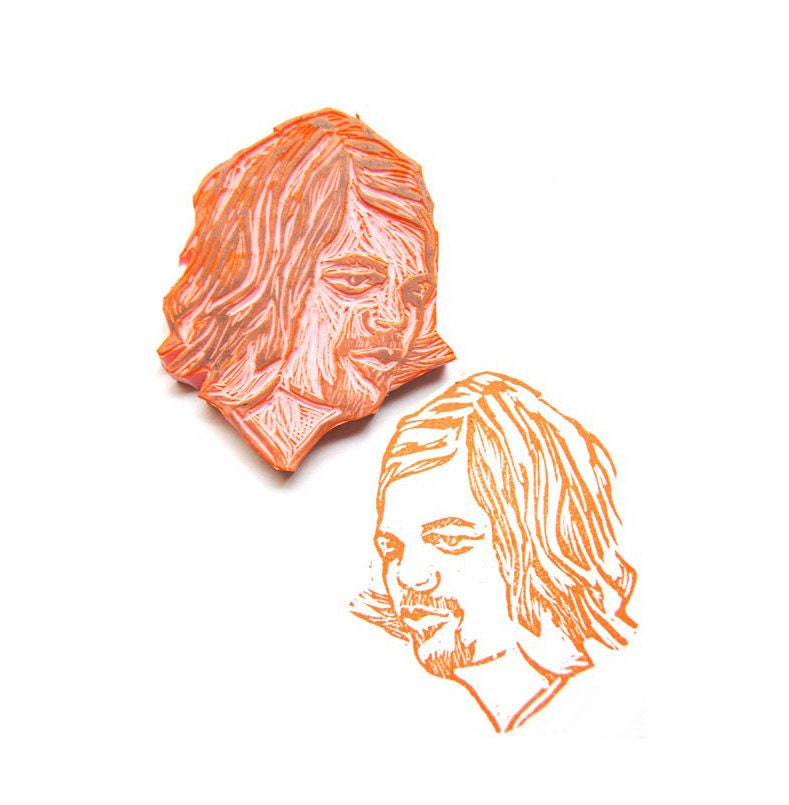 Hand carved custom portrait stamp by fawa on etsy