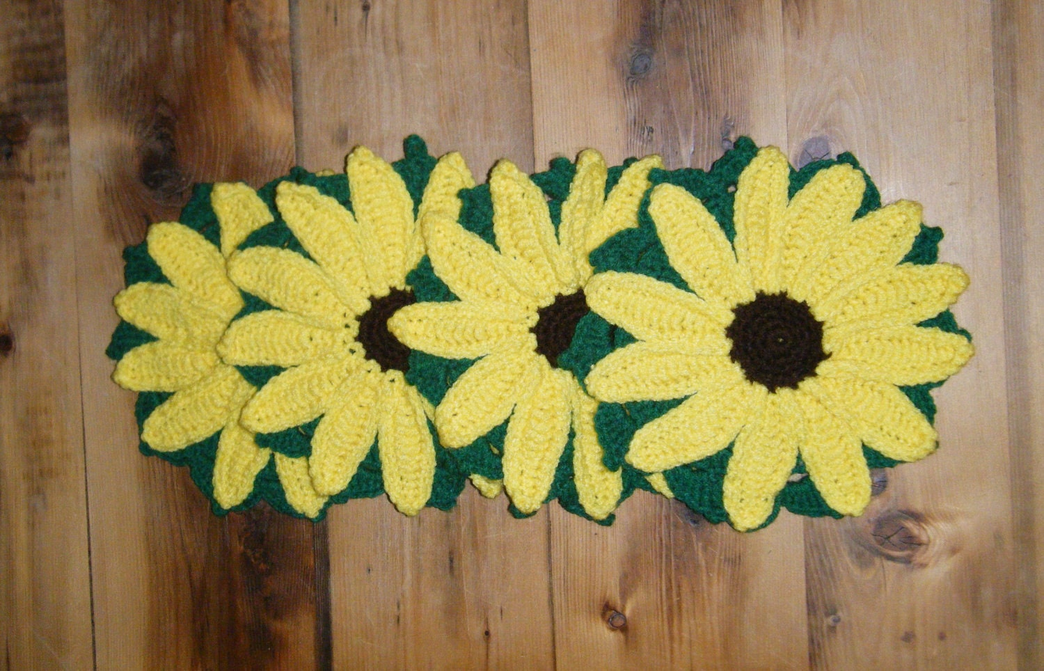 Handmade Crochet Sunflower Potholder Trivets - Set of 4