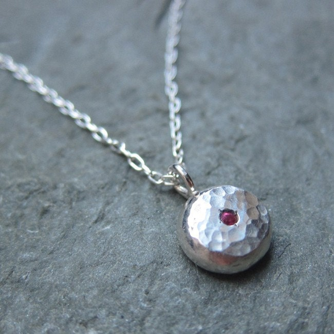 Ruby sterling silver recycled necklace - Ruby Baby