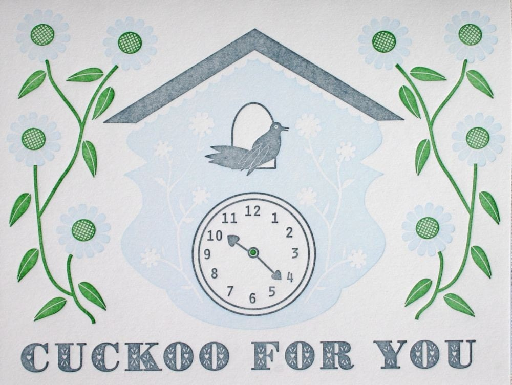cuckoo for you (light blue) greeting card