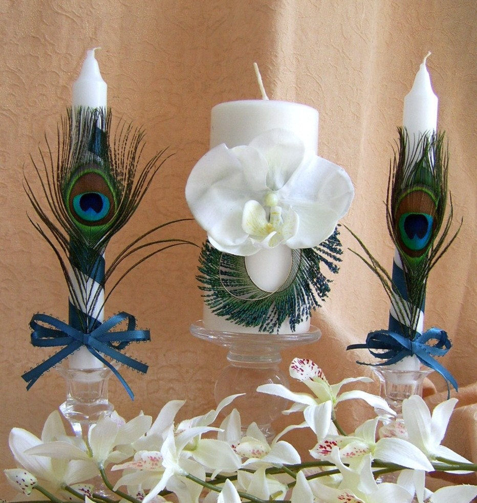 Peacock Feathers and Teal Wedding Color, Unity Candle and Tapers Set