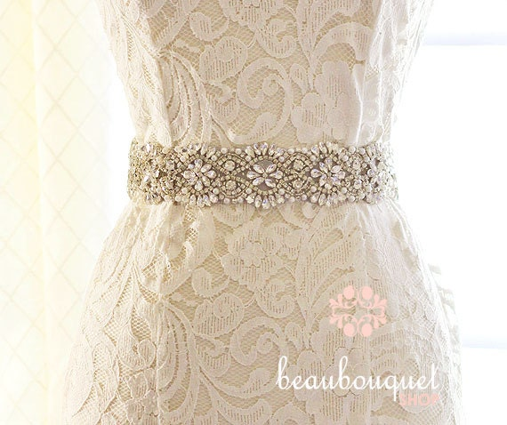 Bridal sash swarovski crystal rhinestone belt by beaubouquet for Sparkly belt for wedding dress