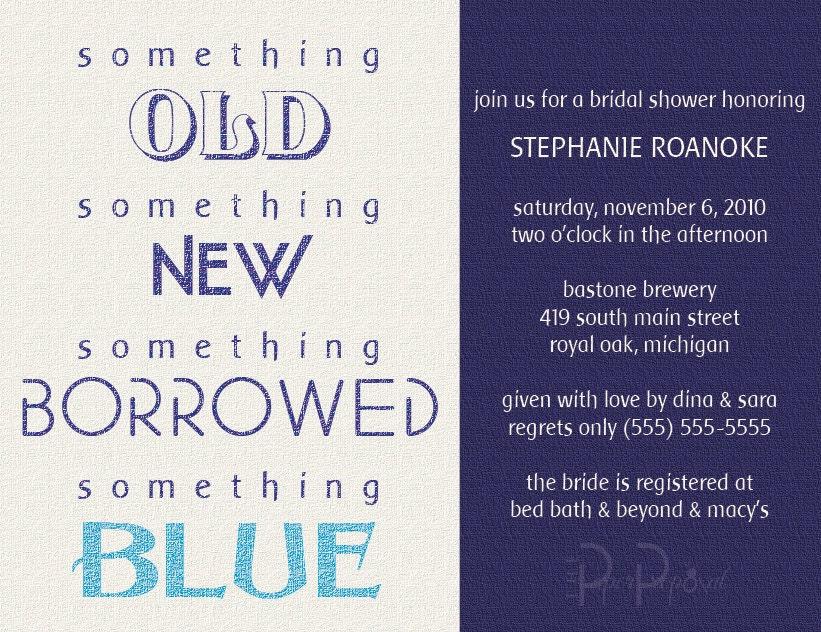 Something Borrowed Bridal Shower Invite DEPOSIT