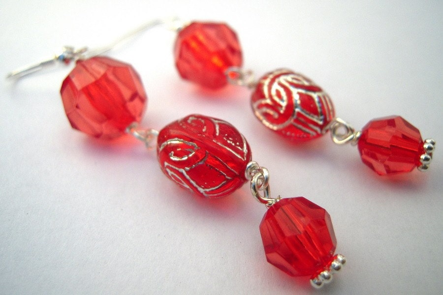 handmade red festive long dangle earrings free shipping