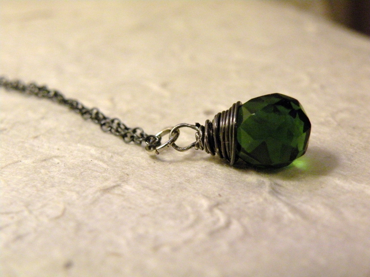 Clover   -   Emerald Glass  Oxidized Sterling Silver Pendant
