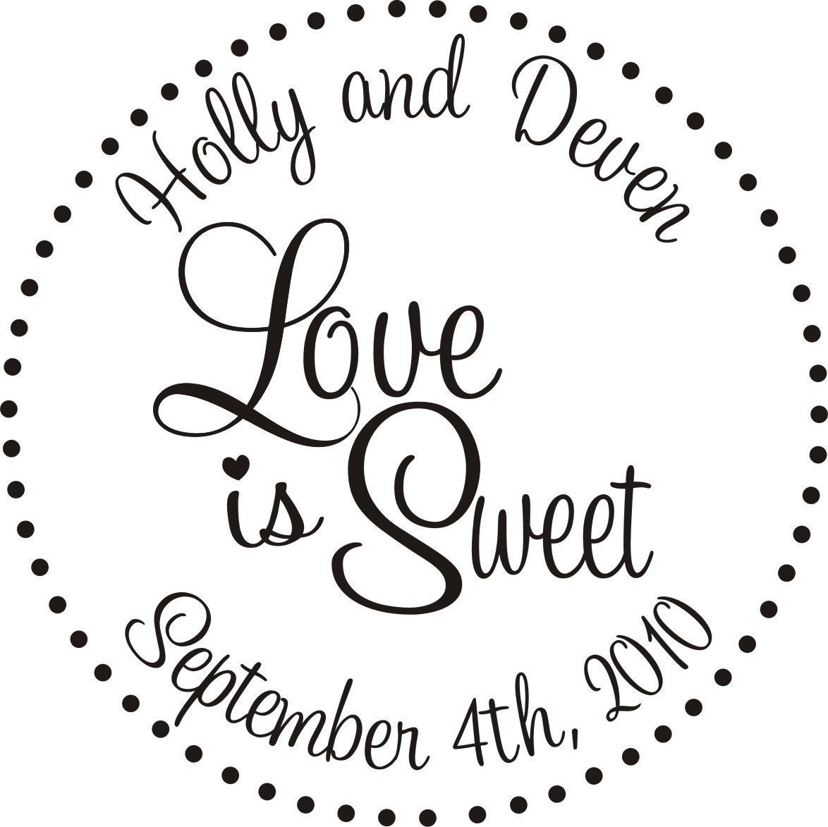 Love Is Sweet Rubber Stamp Personalized Candy Buffet Bags For