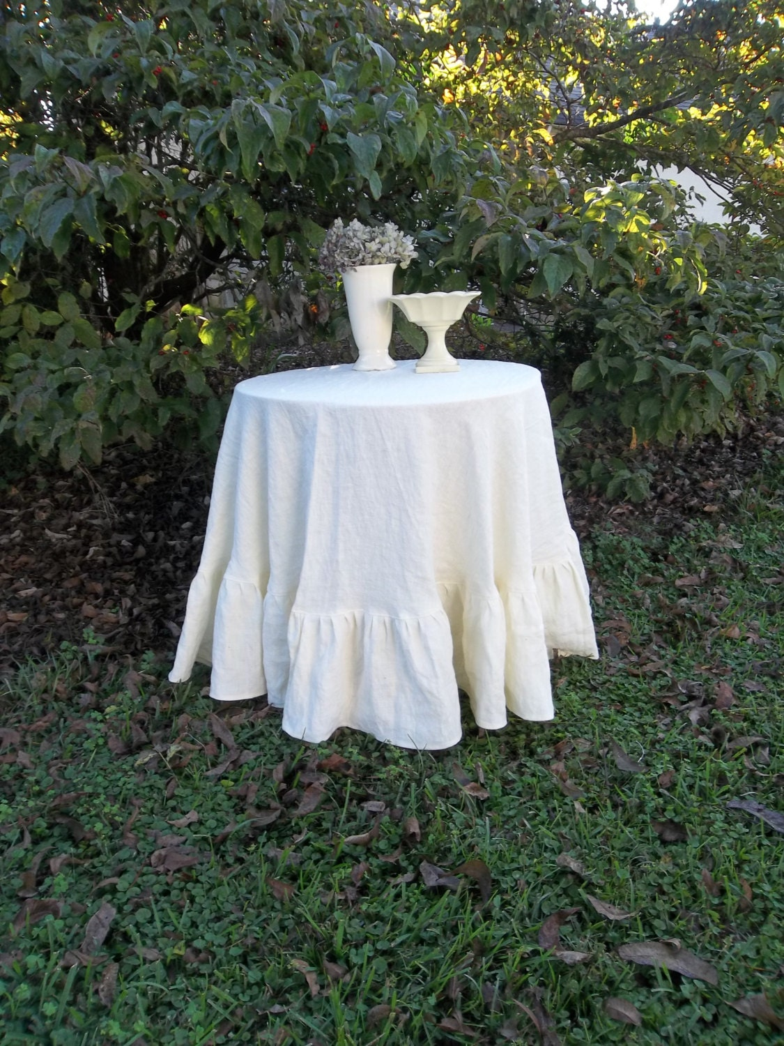 Round Linen Tablecloth Ruffled Linen Tablecloth by misshettie Ruffled Tablecloth