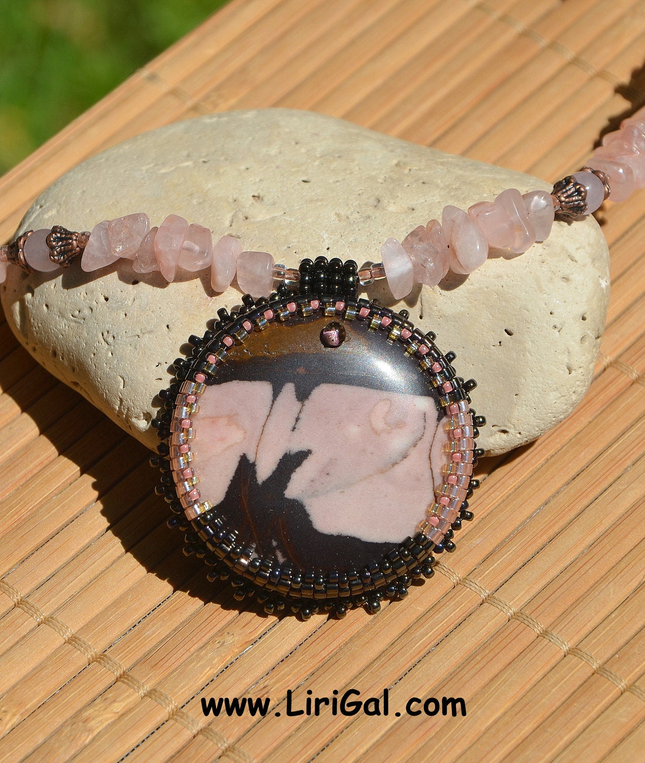 Do wolves really howl at the moon... Beaded cabochon pendant. EBWC