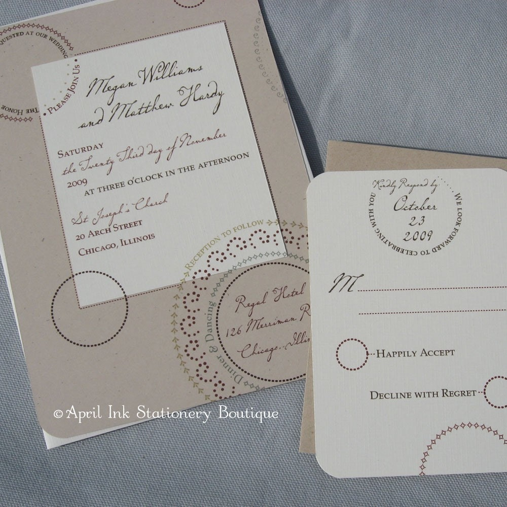 Pretty Fall Circles with Two Printed Layers Wedding Invitation Sample