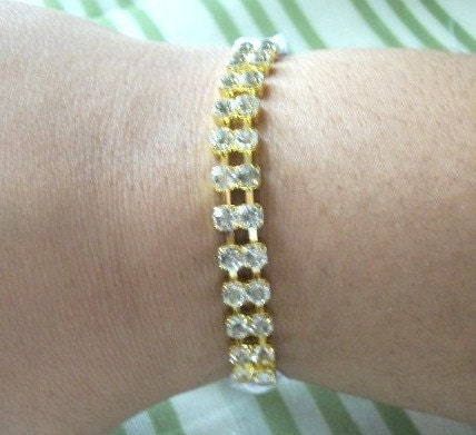 Crystal Rhinestone Gold And White Ribbon Bridal/ Specal Occasion Bracelet