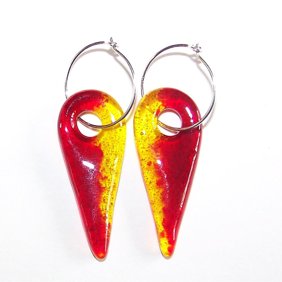 Fused Glass, Red and Yellow Duet Spike Earrings on Sterling Silver Hoops, jewelry by colorolight on Etsy - colorolight