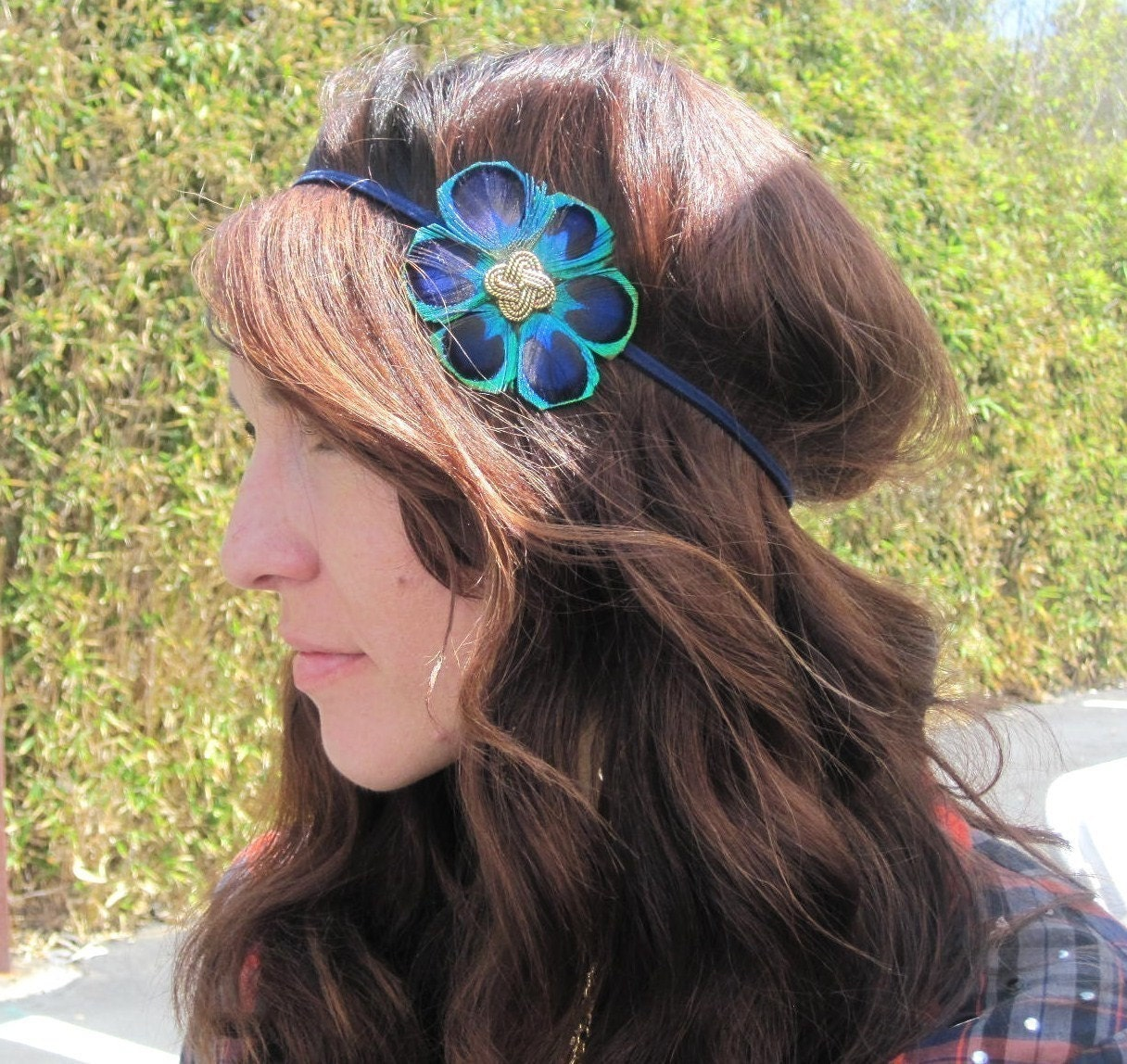MELLY- peacock flower stretch headband / clip