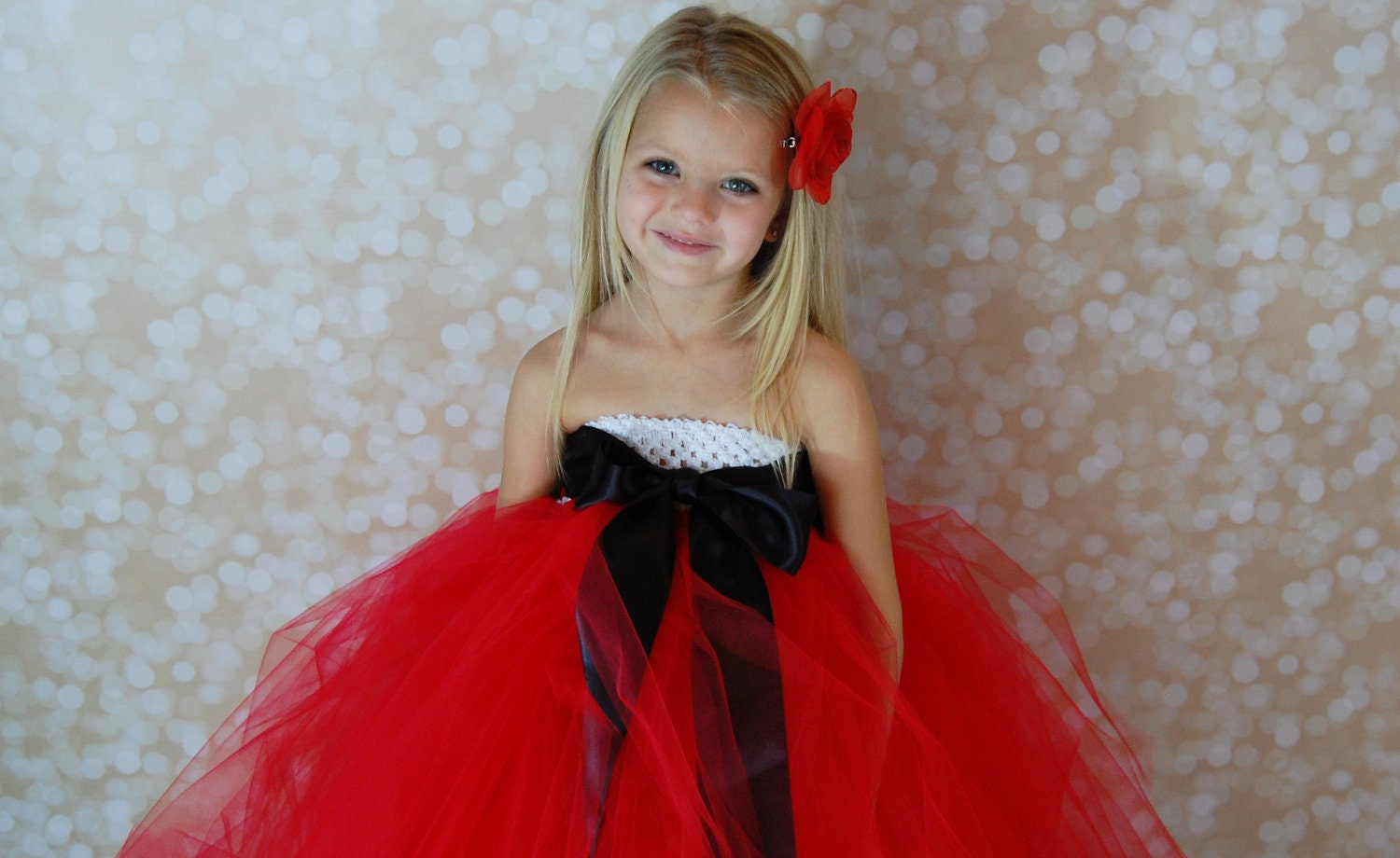Santa Christmas Tutu Dress Red Black and White 8-10 years - PoshPixieTutu