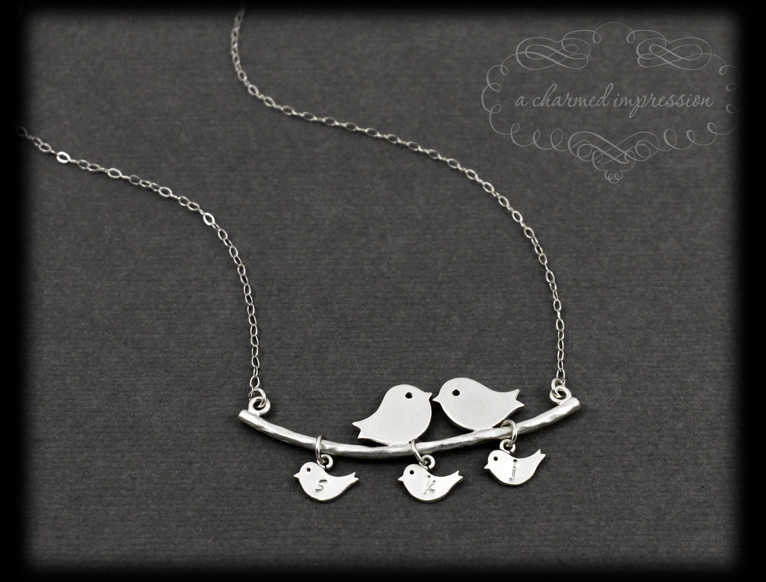 Personalized Mothers Necklace . 3 Baby Birds Necklace . Sterling Silver Bird Family Necklace . Bird Family Tree . OUR LITTLE FAMILY - ACharmedImpression