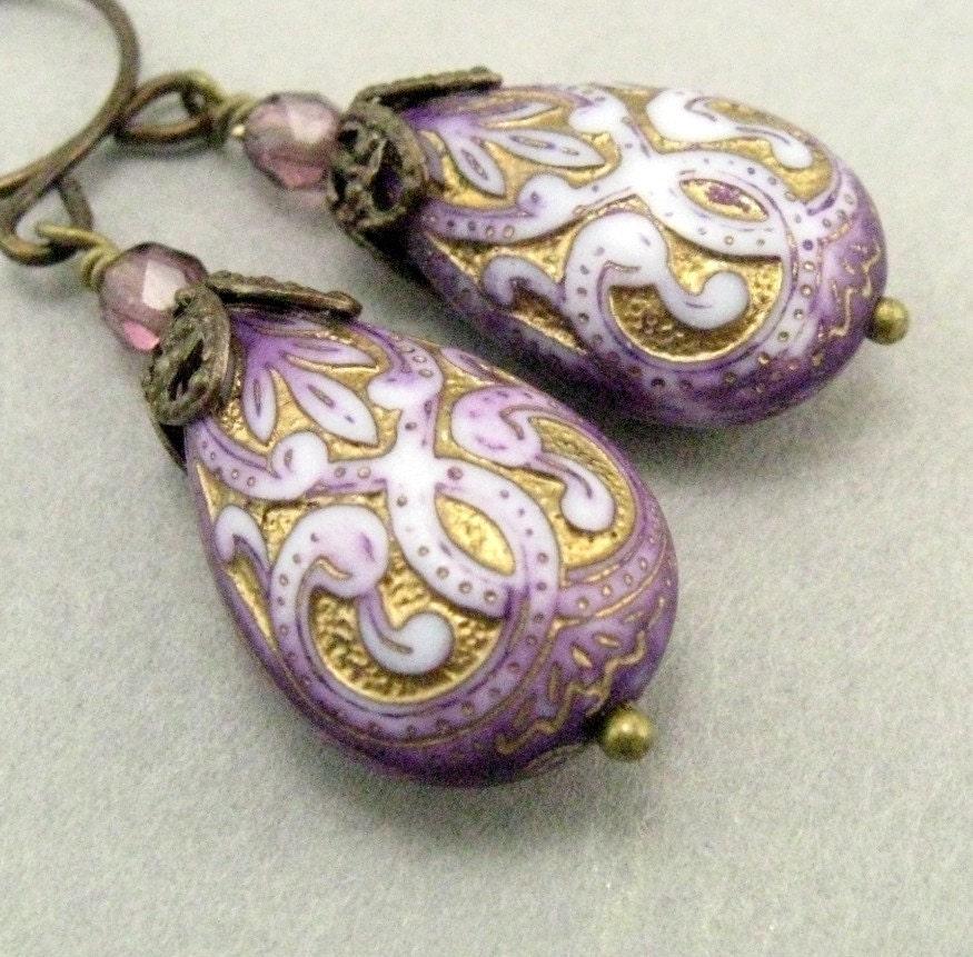 Purple Scrolled Earrings - Clearance