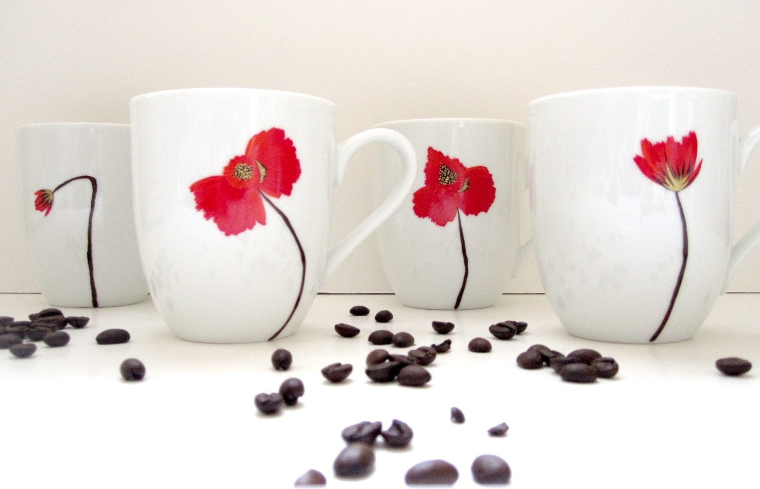 Red  Poppy Porcelain Coffee Mugs- Set of 4