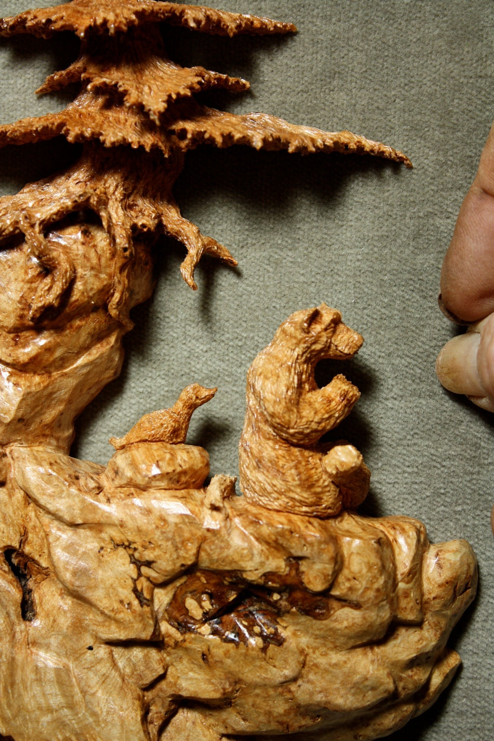 The Prayer Place a carved Tree Scene in maple burl with Bear and Bird - ($525)