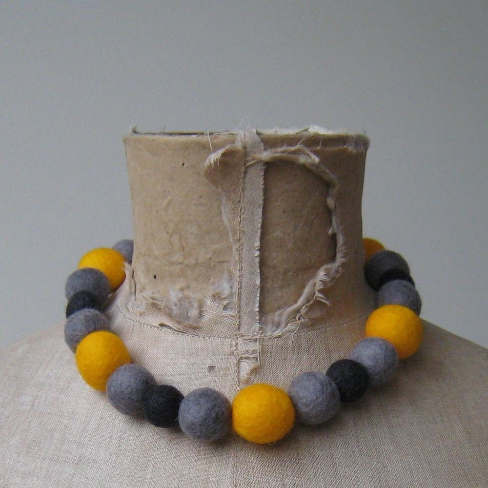 Unique big necklace in yellow and grey - Limited Edition