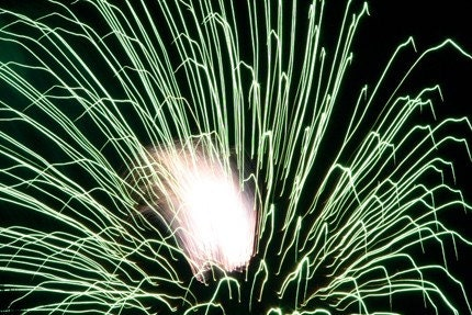 Green Fireworks 8x12 print in 12x16 wood frame (black)