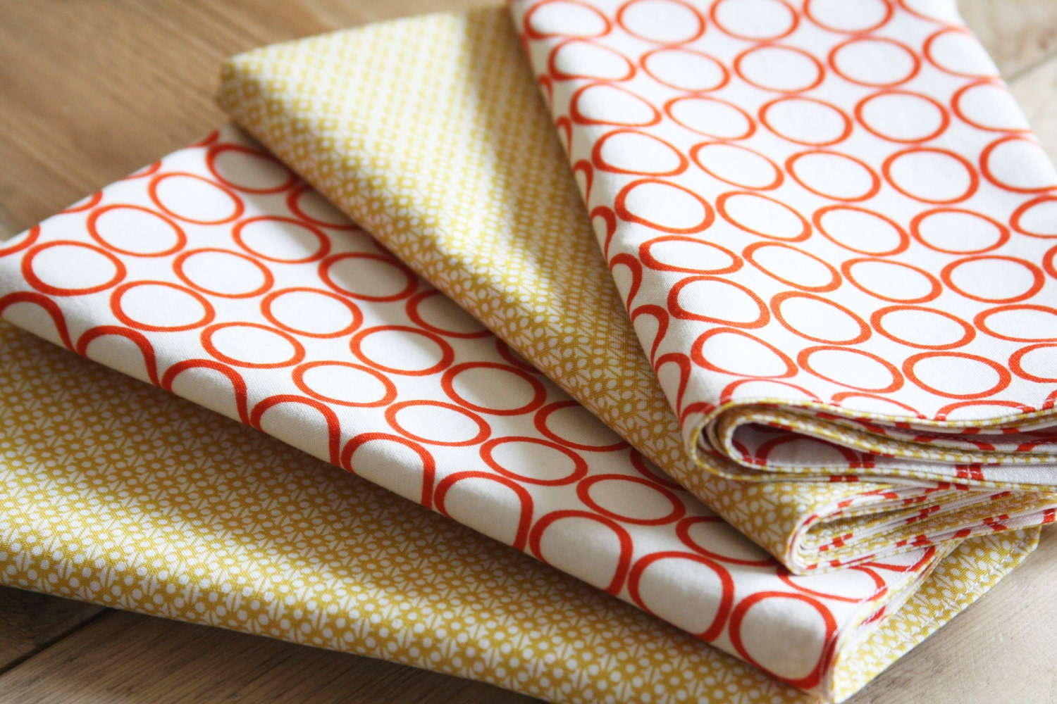 Cotton Napkins - White with Orange Circle and Yellow Modern Style - Set of 4 Reversible Cloth