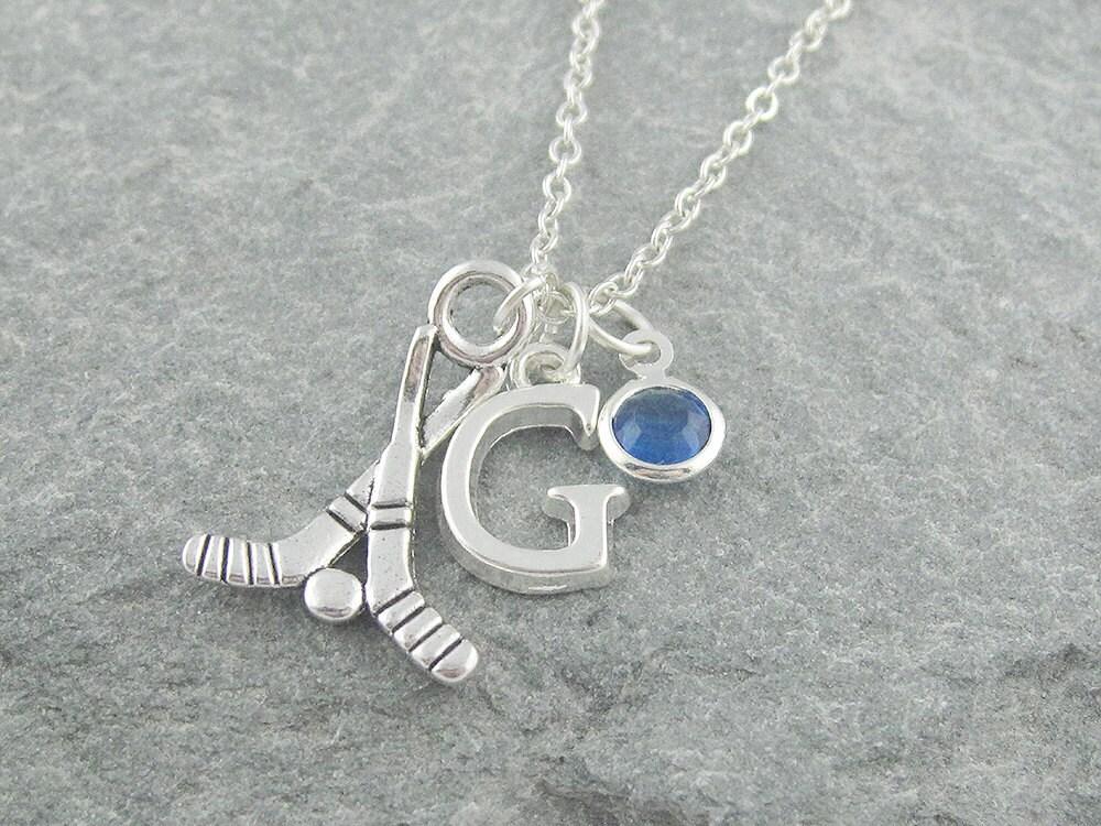 Hockey necklace silver hockey sticks personalized jewelry swarovski birthstone initial necklace gift for her hockey player gift sport