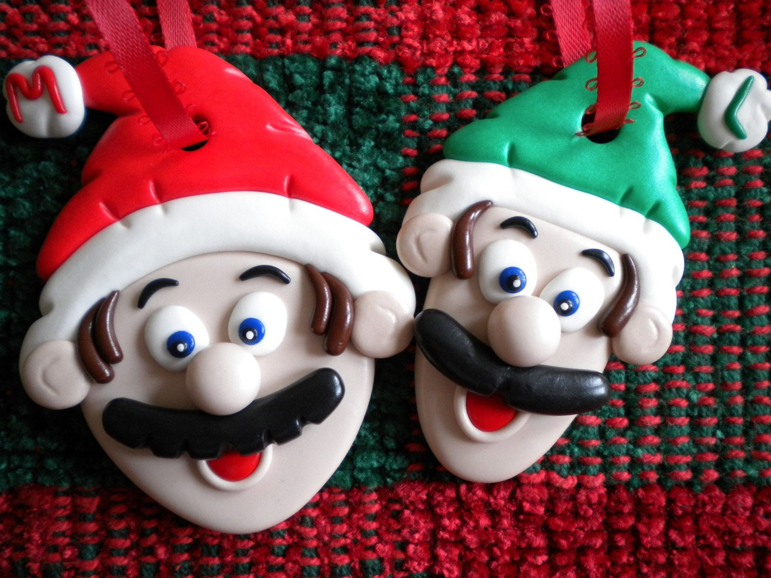 Mario and Luigi Christmas Tree Ornaments