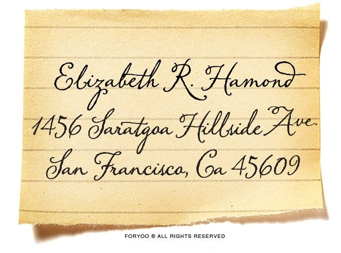Your Custom Rubber Return Address Stamp -Vintage Calligraphy Style / a1076