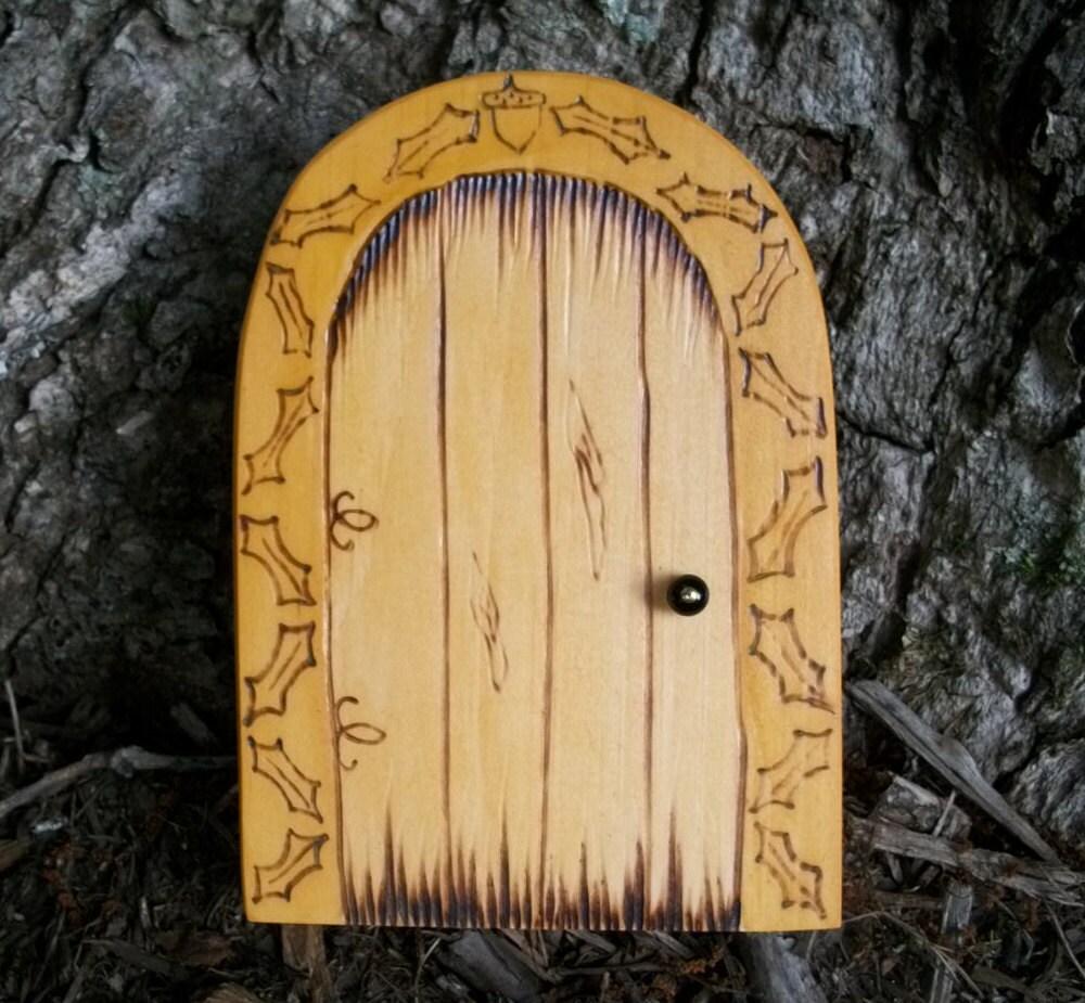Волшебную дверь округленной вершиной магический портал Acorn и дубовыми листьями 6 дюймов