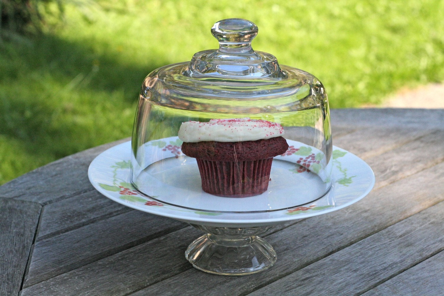 Cake stand with dome, cupcake stand or dessert display pedestal- Berry Sweet