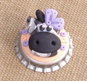 Polymer Clay Bottle Cap COW Bead