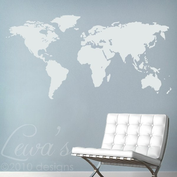 World Map Large Vinyl Wall Decal by lewasdesigns on Etsy