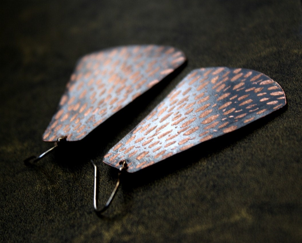 Butterfly Wings Copper Earrings- Statement Earrings, Rust, Copper, Brown, Boho,Bold - StemDesigns