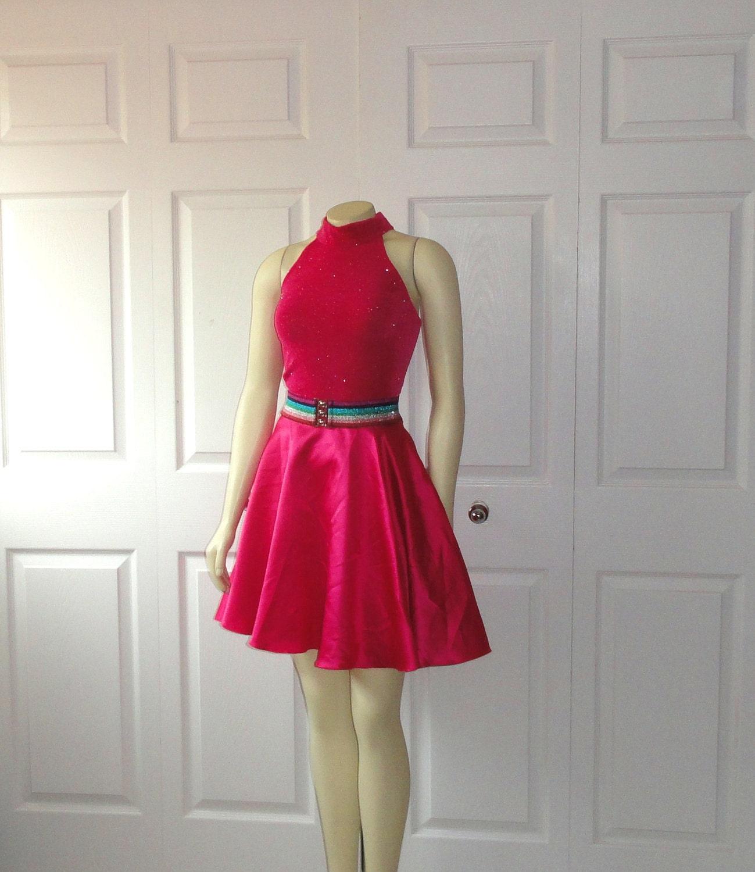 Vintage 80s prom dress shimmering hot pink by 2sweet4wordsvintage