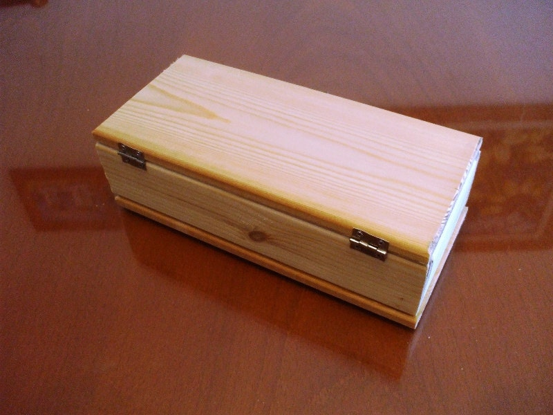 Lot of 2 unfinished plain natural hinged wood wooden box for Unfinished wooden boxes for crafts
