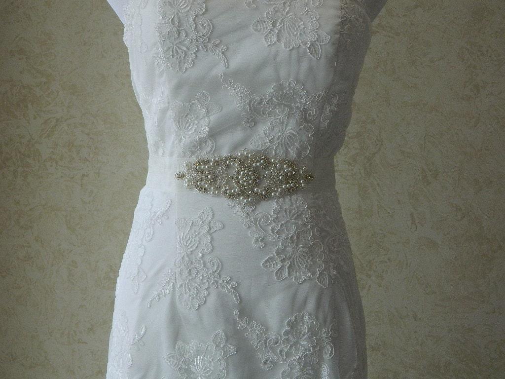 Wedding Sash/Belt,Bridal Sash,Rhinestone Sash,Beaded Sash,- Joyce -Ivory Organza Wedding Sash