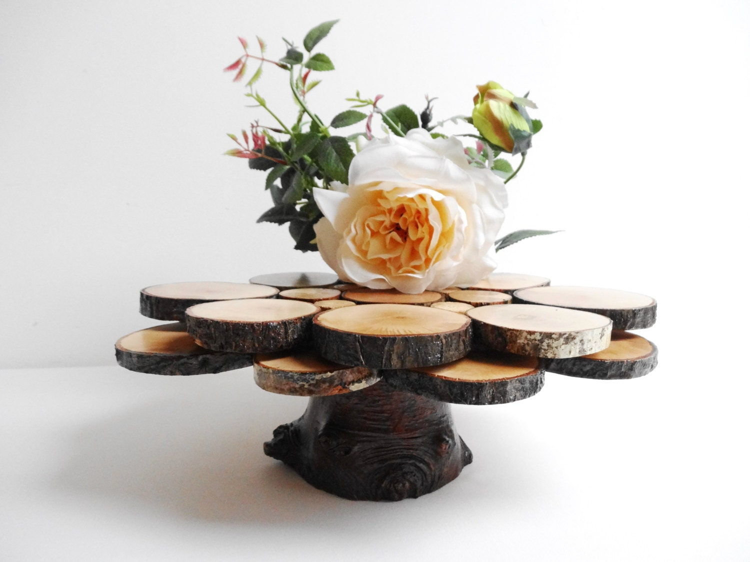 Rustic Woodland Wedding Centerpiece Wood Cake By